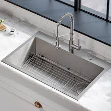 metal kitchen sink and cabinet combo loften all in one dual mount drop in stainless steel 33 in 2 single bowl kitchen sink with pull faucet