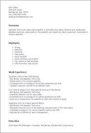 resume for assembly line