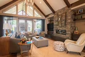 Leather And Wood Coffee Table Rustic Vaulted Ceiling Living Room White Sofa White Wood