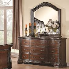 Bedroom Dresser With Mirror Maddison 6 Bedroom Set In Warm Cappuccino Finish By Coaster
