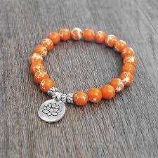 beads charm bracelet images Orange natural stone chakra mala beads charm bracelet loxlux jewelry jpg