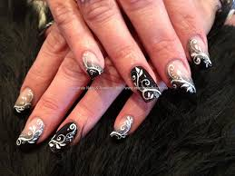 black and white freehand nail art over acrylic nails nail art