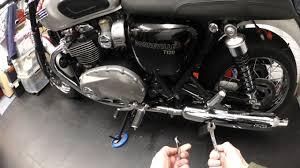 triumph bonneville t120 easy chain adjustment youtube