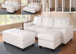 Faux Leather Sectional Sofa With Chaise White Faux Leather Sectional Sofa With Reversible Chaise And