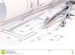 blueprint floor plan floor plan with rolled blueprint and drawing compass stock photo