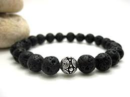 lava rock and silver bead mens energy bracelet strand