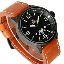 weird clock brand naviforce military vogue leather 30m waterproof date day