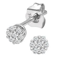 diamond earrings uk naava women s 0 07 ct diamond stud earrings in 9 ct white gold