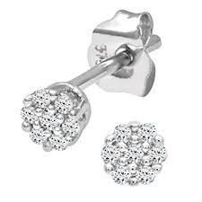 diamond stud earrings for women naava women s 0 07 ct diamond stud earrings in 9 ct white gold