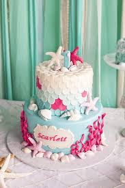2 Tier 1st Birthday Cake From Littlest Mermaid 1st Birthday Party