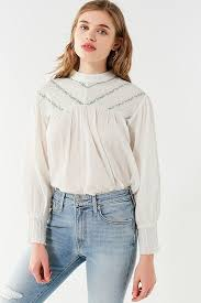 chevron blouse uo embroidered chevron mock neck blouse outfitters