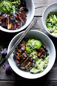 sesame ribbon japanese farm style grilled teriyaki chicken bowl recipe