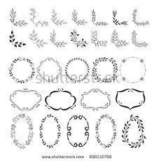 set frames corner borders wedding ornaments stock vector 690132799