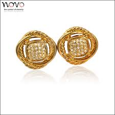 gold earings gold plating cubic zirconia small gold earrings designs for