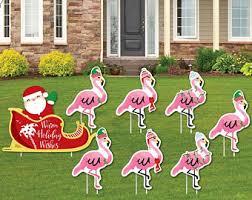 flamingo yard etsy