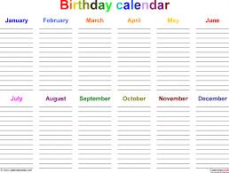 birthday calendars 7 free printable word templates calendar saneme