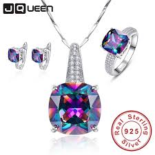 anniversary gifts jewelry rainbow 100 925 st sterling silver necklace earrings ring set