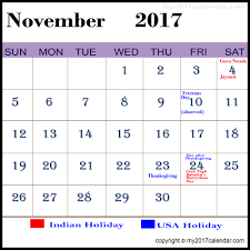 november 2017 calendar with holidays printable monthly calendars