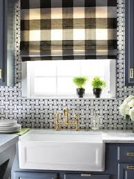 Farm Sink With Backsplash by Window Basket Wave Tile Backsplash And Kitchen Window With