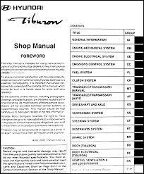 2001 hyundai tiburon manual 2001 hyundai tiburon repair shop manual original