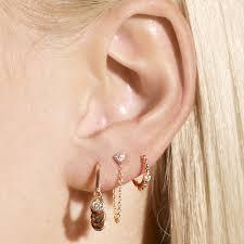 tiny hoop earrings kismet by milka beaded white diamond solitaire tiny hoop