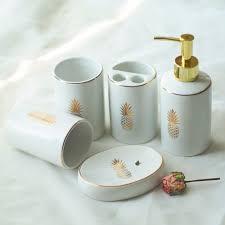Porcelain Bathroom Accessories Sets 5pcs Set European Style Ceramic Print Golden Pineapple Bathroom