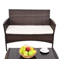 Outdoor Patio Sectional Furniture Sets - 4 pcs outdoor patio rattan table w shelf and sofa set outdoor