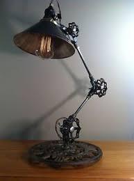 vintage industrial desk lamp machine age task light cast iron