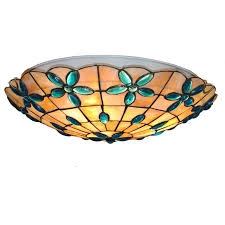 Stained Glass Ceiling Light New 16 Inch Classic Flower Shell Ceiling L European