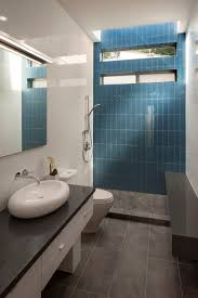 a bright blue tile accent wall at the back of the shower adds