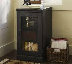 Media Cabinet Glass Doors Printer S Single Glass Door Cabinet Pottery Barn