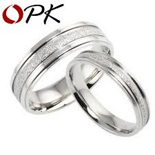 shine wedding band opk jewelry gift box packing new style titanium steel ring