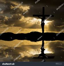 silhouette jesus christ crucifixion on cross stock photo 69729790