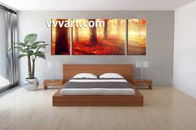 Forest Designs Bedroom Furniture 3 Piece Red Autumn Scenery Canvas Wall Decor