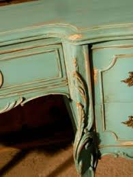 vintage french provincial hand painted aqua distressed desk on