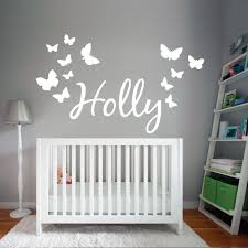 wall designer wall art stickers personalised name wall art sticker with butterflies