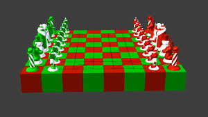north pole vs south pole christmas chess set 3d print model from