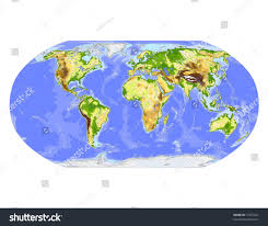 Robinson Map World Physical Vector Map Robinson Projection Stock Vector