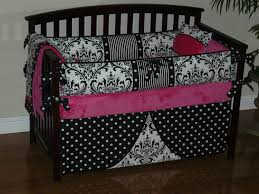 Pink And Black Polka Dot Bedding Custom Crib Baby Bedding 3 5pc Set Pink Minky Black
