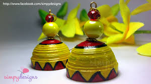 handmade paper earrings yellow and handmade paper jhumkas simpy designs
