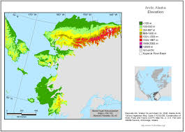 Alaska Temperature Map by Arctic Geoecological Atlas Arctic Alaska Elevation Map