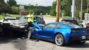 corvette car crash car of chevrolet corvette road crash