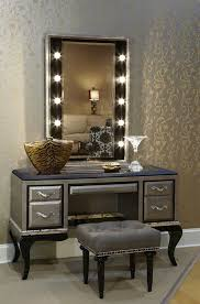 furniture grey makeup table with lighted mirrorand tufted bench