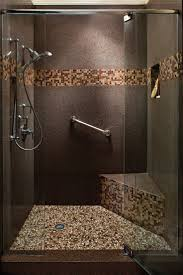 mosaic bathroom tile ideas mid sized minimalist master blue tile brown tile and mosaic tile