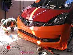 mobil honda wrapping fullbody mobil honda jazz orange matte doff u2013 wrapping