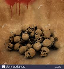 image of halloween background 3d halloween background with a pile of skulls on bloody grunge
