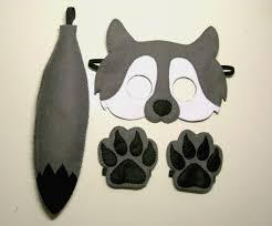 wolf felt mask tail paws set for kids 2 10 years grey white