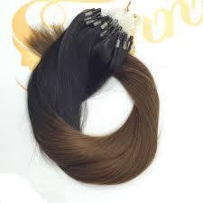 1 Gram Micro Loop Hair Extensions by Ombre Loop Micro Ring Beads Remy Human Hair Extensions Black To
