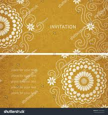 Vintage Invitation Cards Vintage Invitation Cards Large Flowers Curls Stock Vector