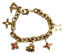 monogram charm louis vuitton gold charm plate monogram charms bracelet tradesy